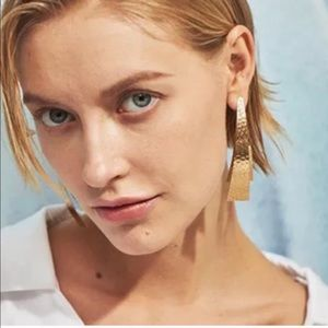 Anthropologie Gold arch EARRINGS Long double posts